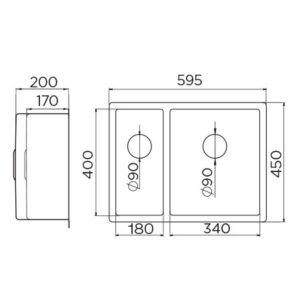 Quadro Artinox 340.180 tehnički crtež