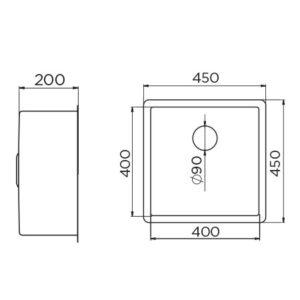 Artinox 400 tehnički crtež