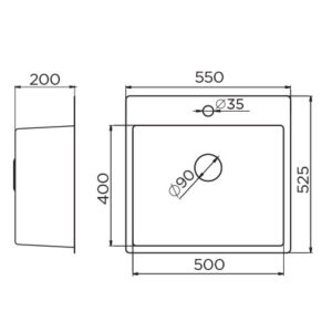 Quadro Artinox 500 B tehnički crtež