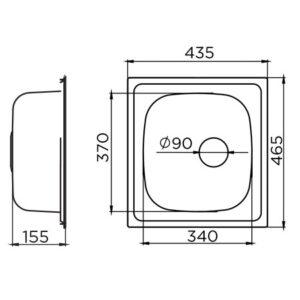 Quadro Ø90 tehnički crtež