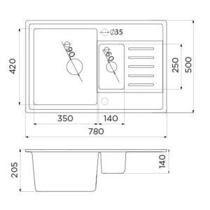 xQuadro Plus 1.5D tehnički crtež