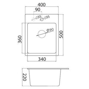 xQuadro 40 tehnički crtež
