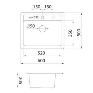 xQuadro 60 tehnički crtež